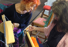 Saori weaving demonstrations and sharing in the community