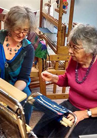 Demonstrating Saori weaving at the Whitchurch Silkmill