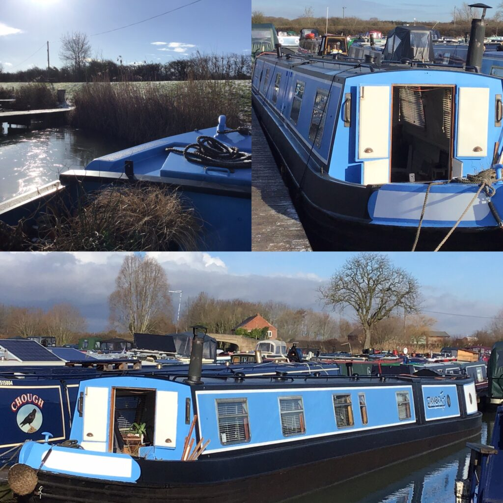 Collage of blue narrow boat on the water in a marina